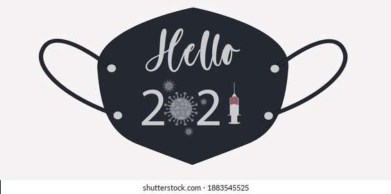 Hello 2021 without coronavirus . finding vaccine. text written on medical and protective mask. Happy new year 2021 without pandemic illustration