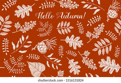 Hello autumn card design with white leaves on red background. Modern and creative poster, brochure, greeting card template.