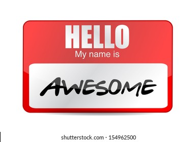 Hello I am awesome tag. Illustration design over a white background