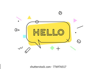 Hello. Banner, speech bubble, poster and sticker concept, geometric memphis style with text Hello. Icon message Hello cloud talk for banner, poster, web. White background. Illustration