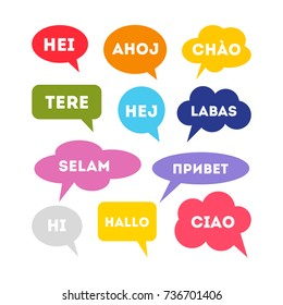 Hello in different languages. Colorful speech bubbles with hello word.