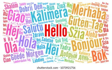 Hello in different languages word cloud