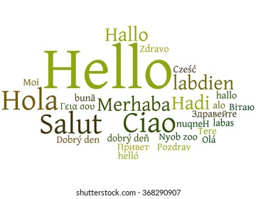 Hello, in different languages. Word cloud concept on white background.
