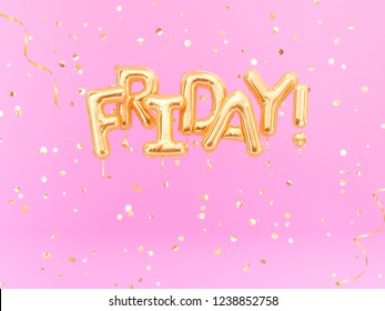 Hello Friday text sign letters with golden confetti, celebration banner. 3d rendering