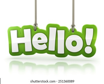 Hello! green word text isolated on white background with clipping path
