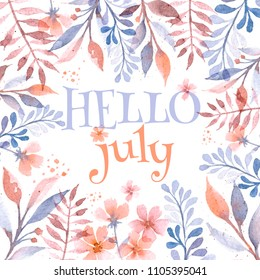 hello july flower frame watercolor botanical drawing for postcards calendars web