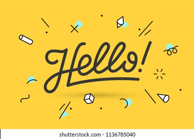 Hello. Lettering for banner, poster and sticker concept with text Hello. Icon message Hello on white background, geometric memphis style. Calligraphic simple logo. Illustration