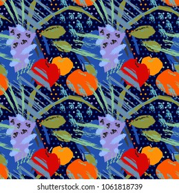 Hello Matisse. Emotional expressive picture. Still life, a table, a vase, apples, a wind, circles on a dark background. Bright seamless pattern.
