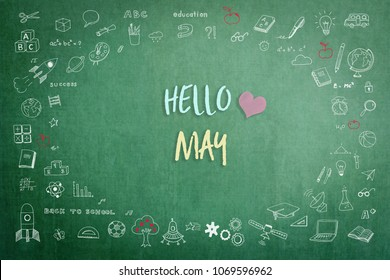 Hello May greeting on green school teacher's chalkboard with creative student's doodle of learning education graphic freehand illustration icon for back to school month concept