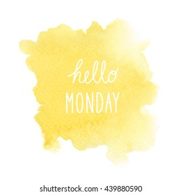 Hello Monday text on yellow watercolor background.