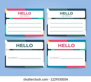"""Hello My Name Is..."" Name Tag Set. Label sticker on white background.  stock illustration."