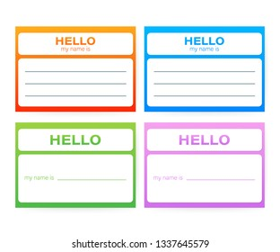 """""""Hello My Name Is..."""" Name Tag Set. Label sticker on white background.  stock illustration."""
