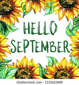Hello September. Illustration of autumn floral wreath, sun flowers and leaves  with lettering. Greeting card, invitation, badge, sale banner, label.