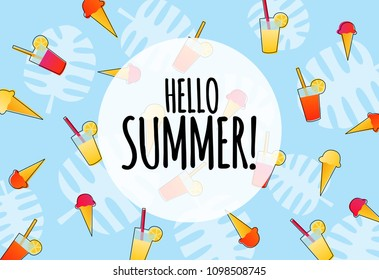 Hello summer blue background with drinks and ice creams
