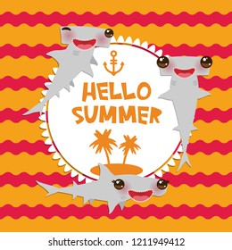Hello Summer Cartoon gray Smooth hammerhead Winghead shark Kawaii with pink cheeks and winking eyes smiling. Round card design, banner template on orange red waves sea ocean background.