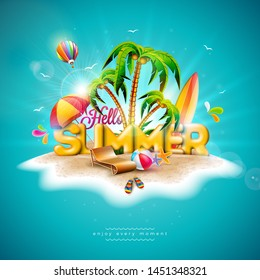 Hello Summer Holiday Illustration with 3d Typography Letter on Ocean Blue Background. Tropical Plants, Flower, Beach Ball, Air Balloon, Surf Board and Sunshade