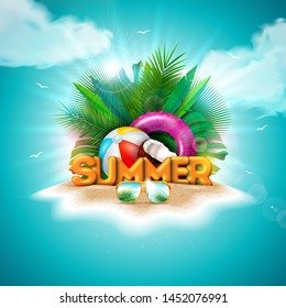 Hello Summer Holiday Illustration with 3d Typography Letter on Ocean Blue Background. Tropical Plants, Flower, Beach Ball, Coconut, Float and Sunshade for Banner, Flyer, Invitation, Brochure, Poster