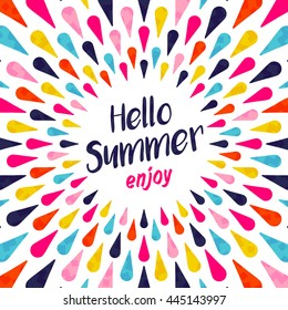 Hello summer lettering background illustration design, enjoy vacation concept with colorful decoration. Summertime party invitation, fun typography greeting card or poster.