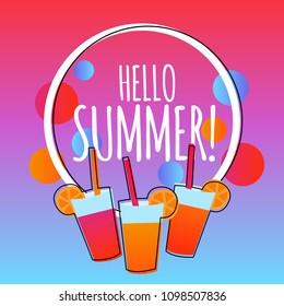 Hello summer modern gradient background with drinks