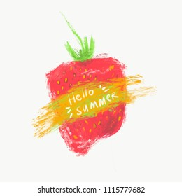 Hello summer. Print T-shirt with the text, and the decor of strawberry.