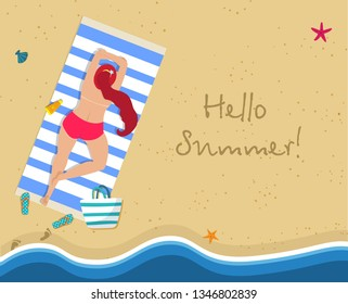 Hello Summer Square Banner. Top View of Young Sunburnt Woman with Long Ginger Hair Lying Topless on Blue and White Striped Mat at Exotic Tropical Beach with Gold Sand. Cartoon Flat  Illustration