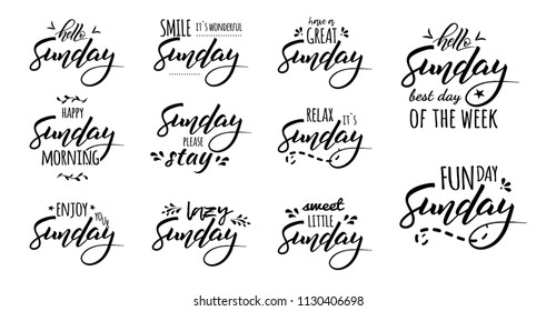 Hello Sunday. Sunday please stay. Sunday funday. Hello sunday best day of the week. Hand drawn lettering and trendy typography social media content, office, weekday and weekend