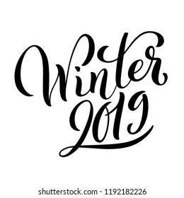 Hello Winter 2019 poster with handdrawn lettering. Happy new year holydays. illustration.