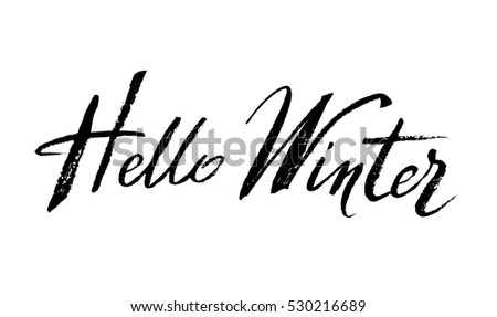 hello winter brush lettering calligraphy on white isolated hello winter words for winter cards
