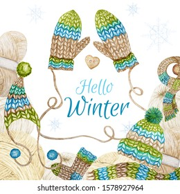 Hello Winter Knitting Shop Logotype Frame, Branding, Avatar composition of yarns, woolen clothes, scarf, mitten, cap with pompon, heart button. Watercolor Illustration greeting card for handmade