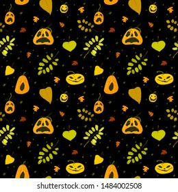 Helloween seamless pattern with autumn leaves, pumpkins, stars
