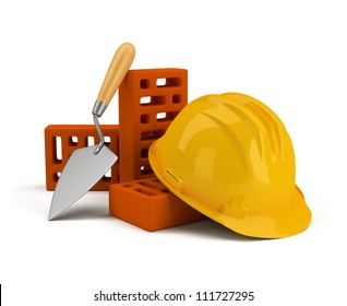helmet with bricks and trowel. 3d image. Isolated white background.