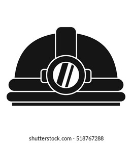 Helmet with light icon. Simple illustration of helmet with light  icon for web