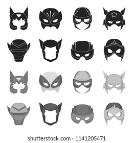 Helmet, mask on the head.Mask super hero set collection icons in black,monochrome style bitmap symbol stock illustration web.