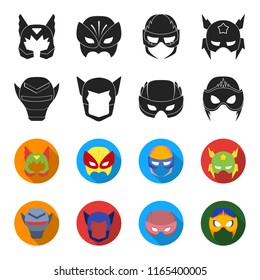 Helmet, mask on the head.Mask super hero set collection icons in black,flet style bitmap symbol stock illustration web.
