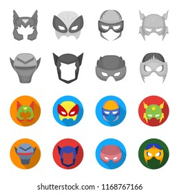 Helmet, mask on the head.Mask super hero set collection icons in monochrome,flat style bitmap symbol stock illustration web.