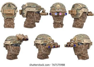Helmet night goggles camouflage dressing set. 3D rendering