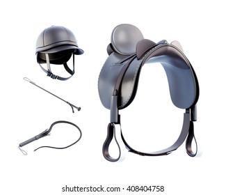 Helmet, saddle, whip for riding isolated on white background. 3d rendering.
