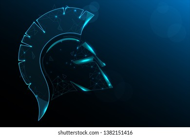 Helmet of the Spartan Warrior. Illustration in particle  style design