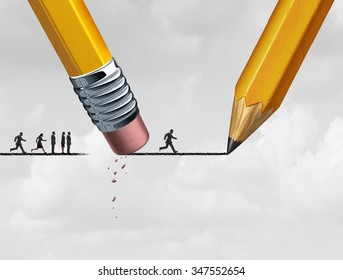 Help concept and corporate support as a group of people excluded from advancing on a drawing of a line that is being erased and sketched by a pencil.