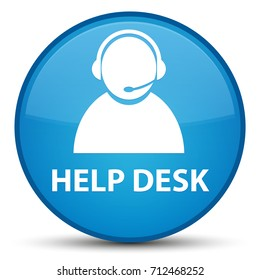 Help desk (customer care icon) isolated on special cyan blue round button abstract illustration