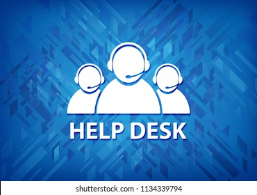 Help desk (customer care team icon) isolated on blue background abstract illustration