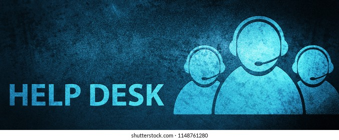 Help desk (customer care team icon) isolated on special blue banner background abstract illustration