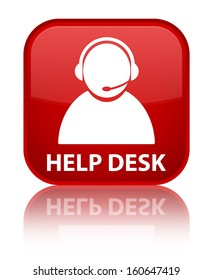 Help desk glossy red reflected square button