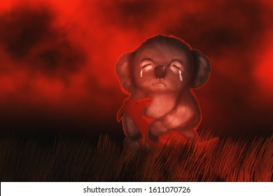 Help - Flame of fire. Forest fire background. Sad cry koalas and dead baby kangaroo in him hands, illustration. Pray for australia.