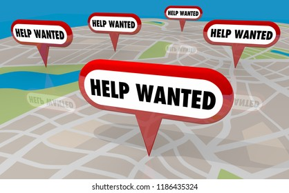 Help Wanted Open Job Positions New Hiring Map Pins 3d Illustration