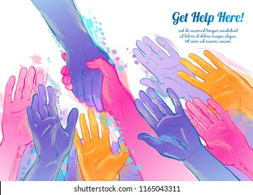 Helping hand concept. Gesture, sign of help and hope. Two hands taking each other. Isolated watercolor, line illustration on white background.