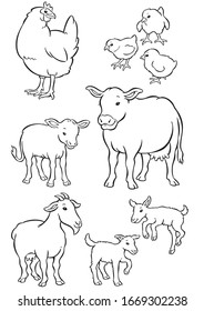 hen, cow and goat line drawings