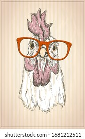 Hen or rooster graphic portrait, front view, vintage style illustration, rasterized version