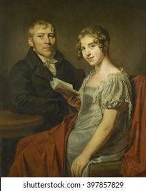 Hendrik Arend van den Brink and his Wife Lucretia Johanna van de Poll, by Louis Moritz, c. 1810, Dutch painting, oil on canvas