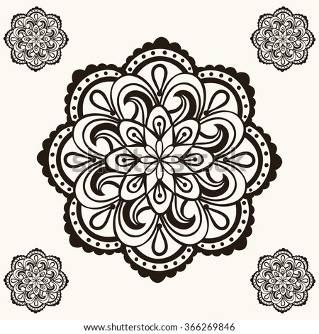 Henna Mandalas Boho Tattoo Design Doodle Stock Illustration